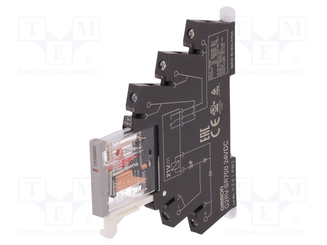 G2RV-SR700 DC24_Relay: interface; SPDT; Ucoil:24VDC; 6A; 6A/250VAC; 6A/30VDC; 100mΩ