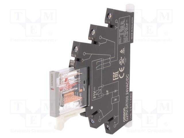 G2RV-SR700 AC/DC24_Relay: interface; SPDT; Ucoil:24VDC; Ucoil:24VAC; 6A; 6A/250VAC