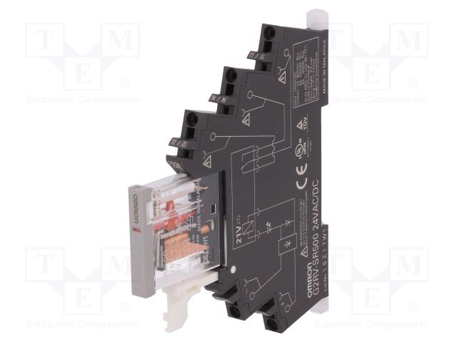 G2RV-SR500 AC/DC24_Relay: interface; SPDT; Ucoil:24VDC; Ucoil:24VAC; 6A; 6A/250VAC