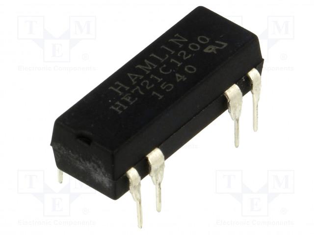 HE721C1200_Relay: reed; SPDT; Ucoil:12VDC; max.175VDC; Rcoil:500Ω; 288mW; PCB