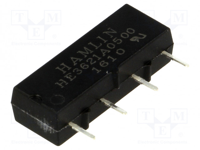 HE3621A0500_Relay: reed; SPST-NO; Ucoil:5VDC; 500mA; max.200VDC; 10W; PCB; SIL