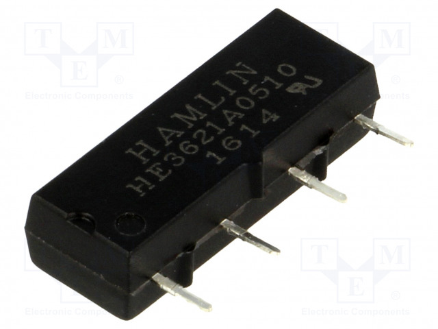 HE3621A0510_Relay: reed; SPST-NO; Ucoil:5VDC; 500mA; max.200VDC; 10W; PCB; SIL