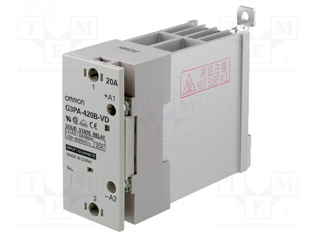 G3PA-420B-VD 12-24DC_Relay: solid state; Ucntrl:12÷24VDC; 20A; 200÷480VAC; -30÷80°C