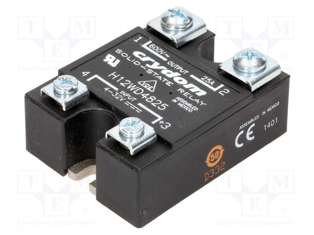 H12WD4825_Relay: solid state; Ucntrl:3÷32VDC; 25A; 48÷660VAC; -40÷80°C; IP00