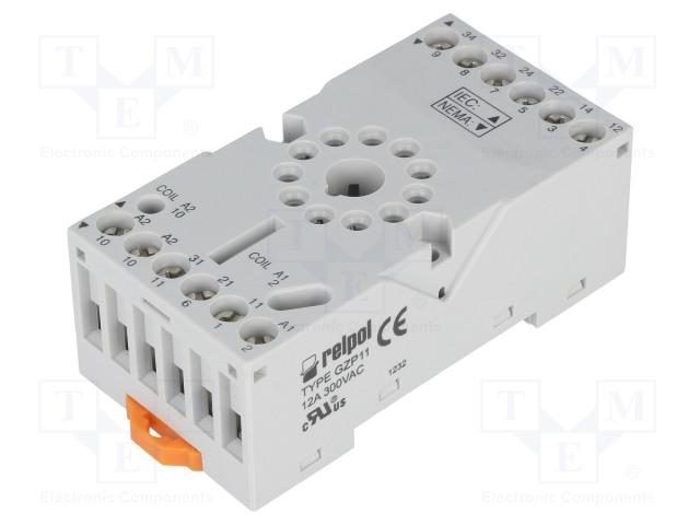 GZP11 2613852_Socket; PIN:11; 10A; 250VAC; Mounting: DIN
