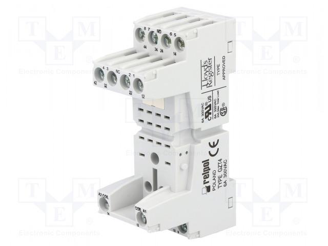 GZT4_Socket; PIN:14; 6A; 250VAC; Application: T-R4; Mounting: DIN