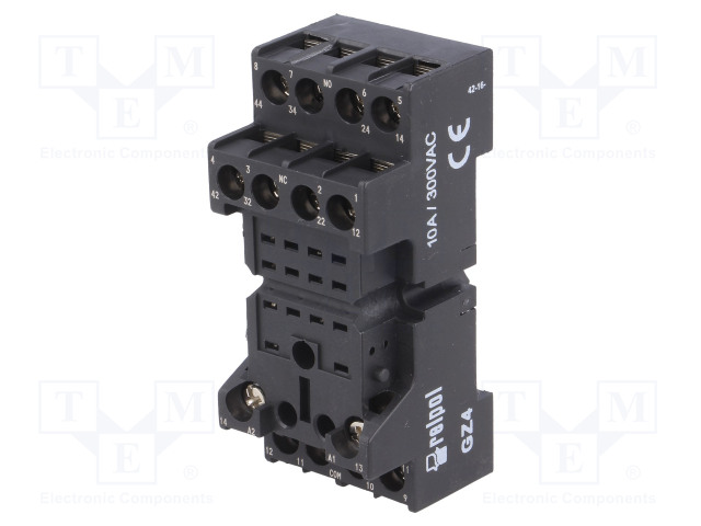 GZ4_Socket; PIN:14; 6A; 250VAC; Mounting: DIN; Leads: screw terminals
