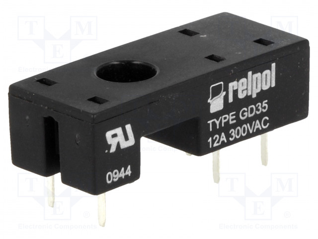 GD35_Socket; PIN:5; 12A; 300VAC; Mounting: PCB; Leads: for PCB; -40÷70°C