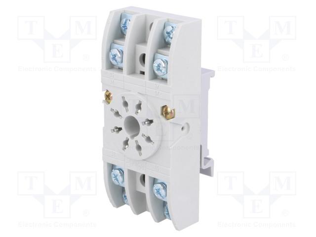 GZU8_Socket; PIN:8; 10A; 250VAC; Mounting: DIN; Leads: screw terminals