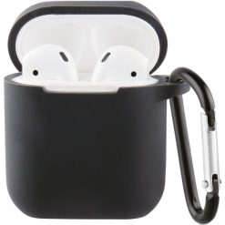 61646_VIVANCO SILICONE CASE FOR AIRPODS 1 / 2  WITH CARABINER black
