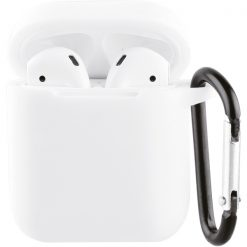 61647_VIVANCO SILICONE CASE FOR AIRPODS 1 / 2  WITH CARABINER white