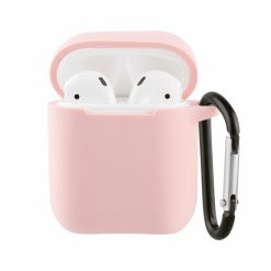 61648_VIVANCO SILICONE CASE FOR AIRPODS 1 / 2  WITH CARABINER pink