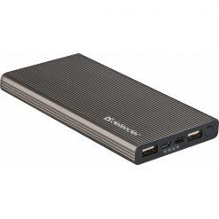 83642_DEFENDER POWERBANK 10000mAh EXTRALIFE FAST 2 PORTS USB 1 PORT TYPE C grey